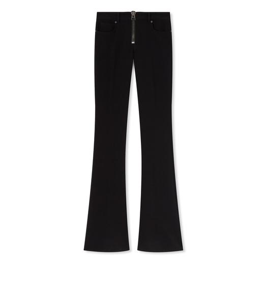 STRETCH WOOL ZIP FRONT FLARE PANTS
