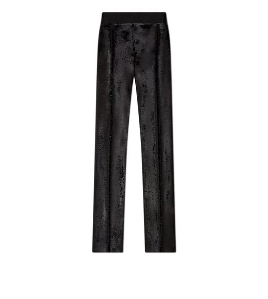 SEQUIN EMBROIDERED TAILORED PANTS
