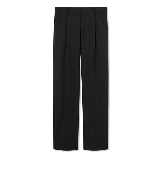 STRETCH WOOL GABARDINE PLEATED PANTS