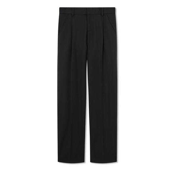 STRETCH WOOL GABARDINE PLEATED PANTS A fullsize