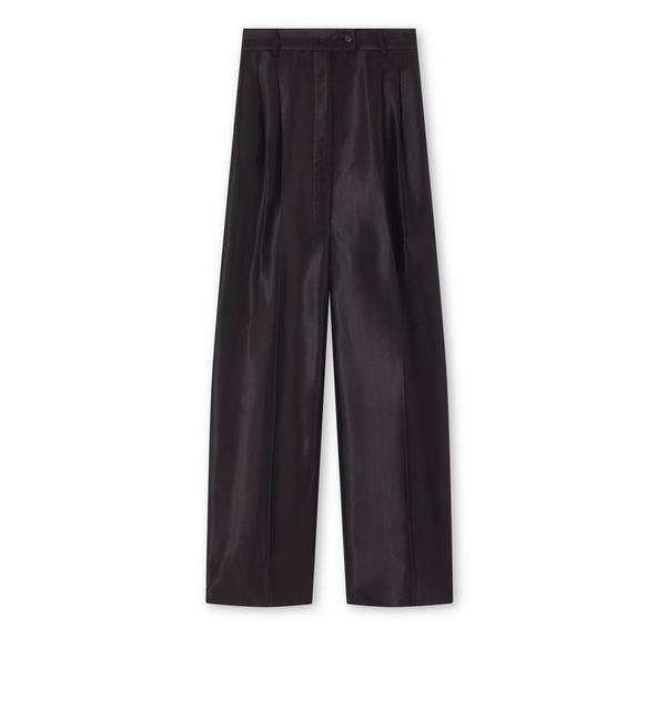 METALLIC HERRINGBONE PANTS WITH LEATHER DETAILS A fullsize