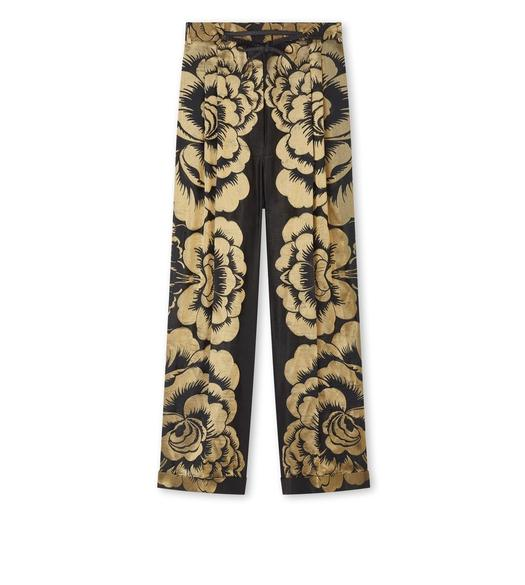 FLORAL LAME' JACQUARD PANTS WITH LEATHER DETAILS