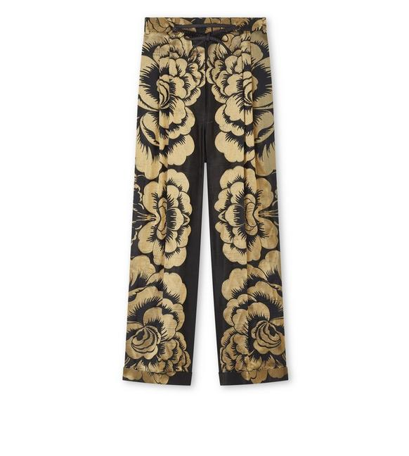 FLORAL LAME' JACQUARD PANTS WITH LEATHER DETAILS A fullsize