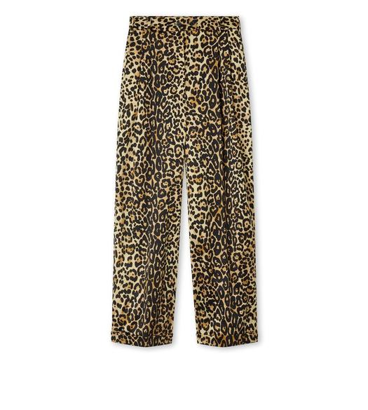 SILK COTTON LEOPARD PANTS WITH LEATHER DETAILS