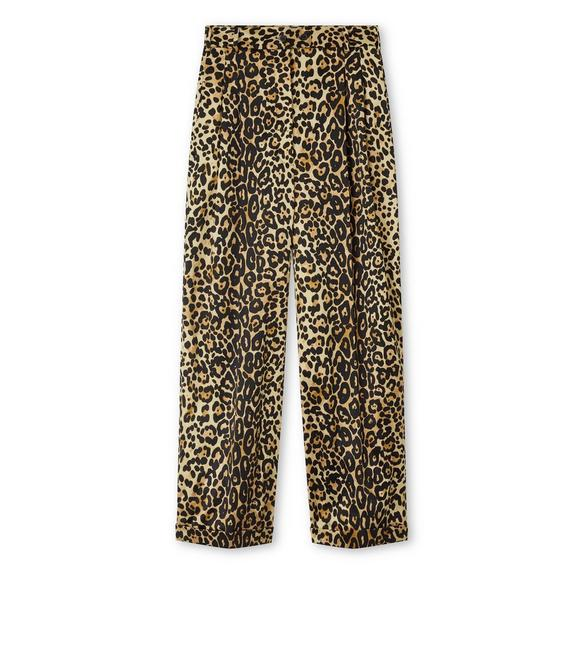 SILK COTTON LEOPARD PANTS WITH LEATHER DETAILS A fullsize