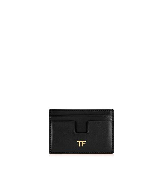 GRAINED LEATHER T CARD HOLDER