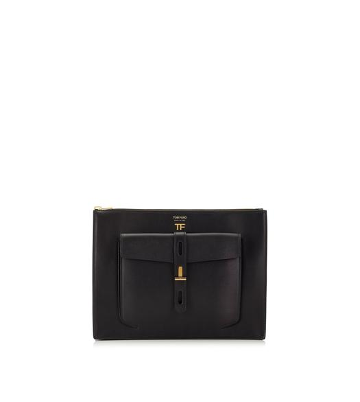 HOLLYWOOD LEATHER T TWIST FLAT POUCH