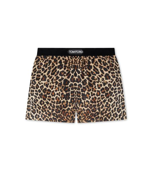 REFLECTED LEOPARD PRINT PJ SHORTS