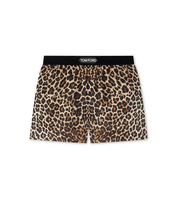 REFLECTED LEOPARD PRINT PJ SHORTS A fullsize