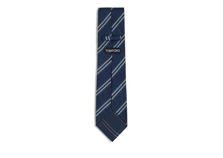 DOUBLE STRIPE SCHOOL WEAVE MULTIFOLD TIE B fullsize