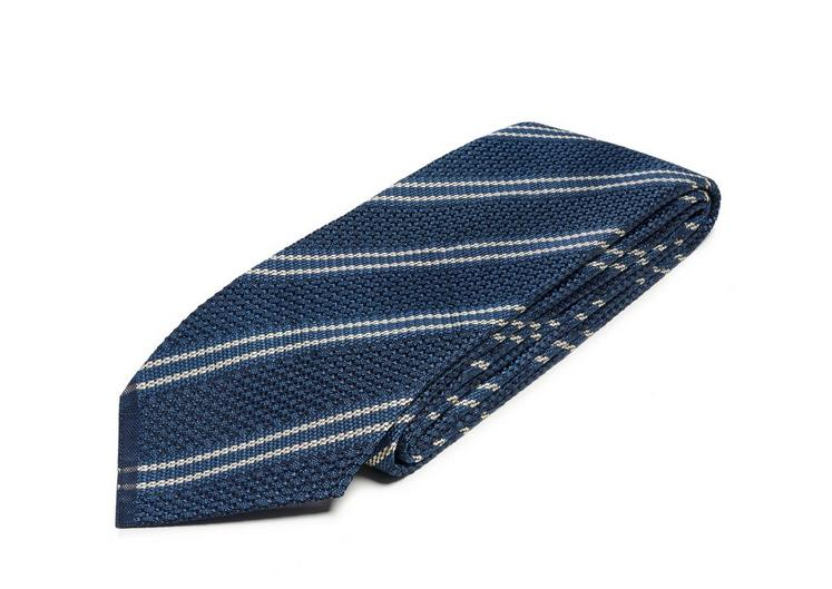 DOUBLE STRIPE SCHOOL WEAVE MULTIFOLD TIE C fullsize