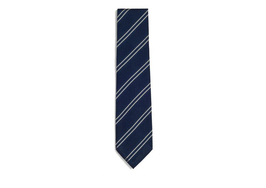 DOUBLE STRIPE SCHOOL WEAVE MULTIFOLD TIE A fullsize