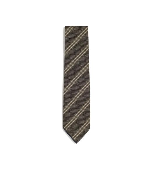 DOUBLE STRIPE SCHOOL WEAVE MULTIFOLD TIE