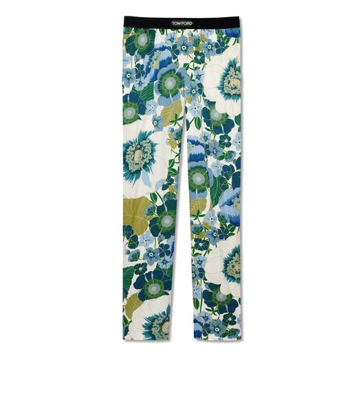GRAPHIC POPPY FLOWER SILK PAJAMA PANTS