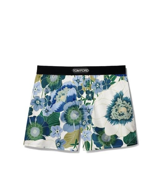 GRAPHIC POPPY FLOWER SILK BOXERS