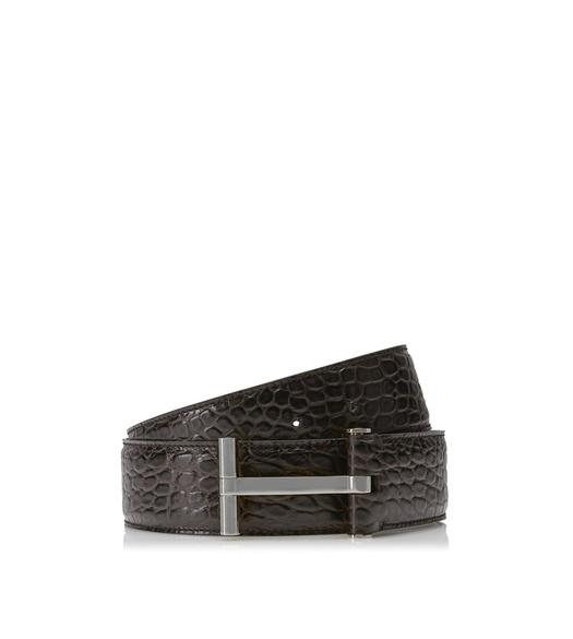 CROCODILE AND SILVER T BUCKLE BELT