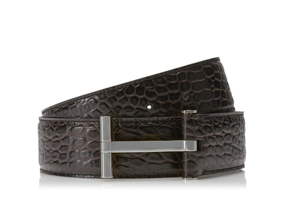 CROCODILE AND SILVER T BUCKLE BELT A fullsize