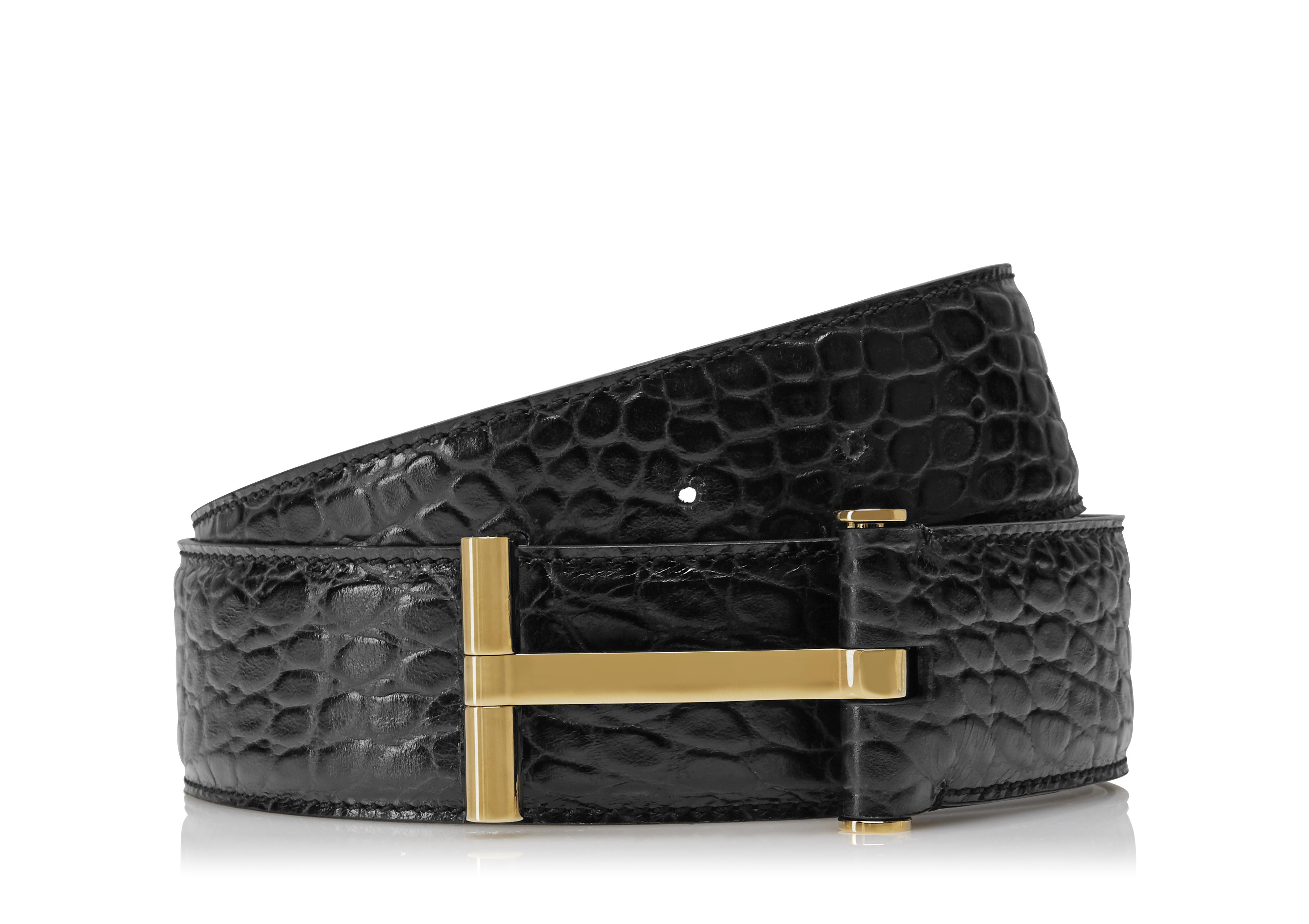 CROCODILE AND GOLD T BUCKLE BELT A thumbnail