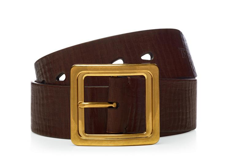 Leather Gold Square Buckle Belt A fullsize