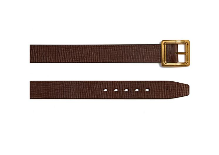 Leather Gold Square Buckle Belt B fullsize