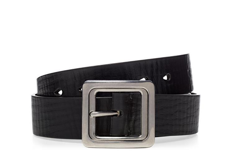 Leather Palladium Square Buckle Belt A fullsize