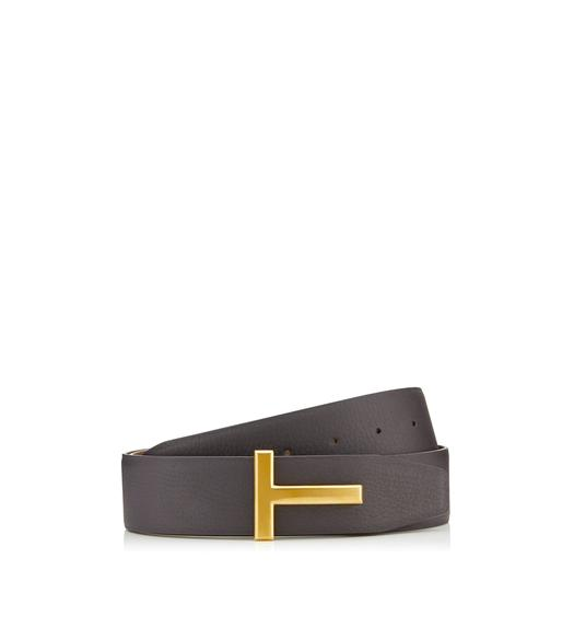 T BUCKLE REVERSIBLE BELT WITH GOLD BUCKLE