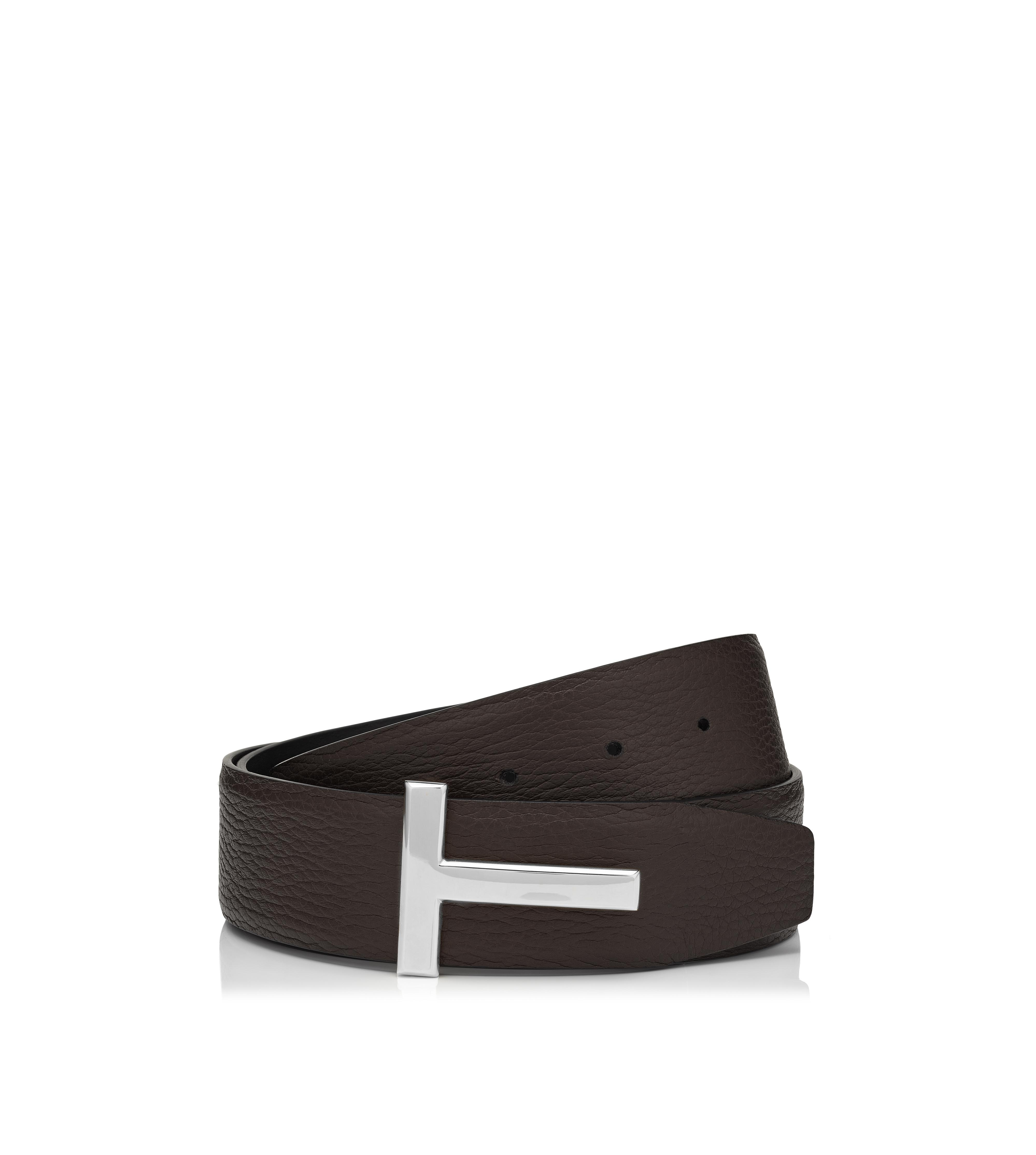 T BUCKLE REVERSIBLE BELT WITH SILVER BUCKLE A thumbnail