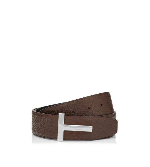 T BUCKLE REVERSIBLE BELT WITH SILVER BUCKLE