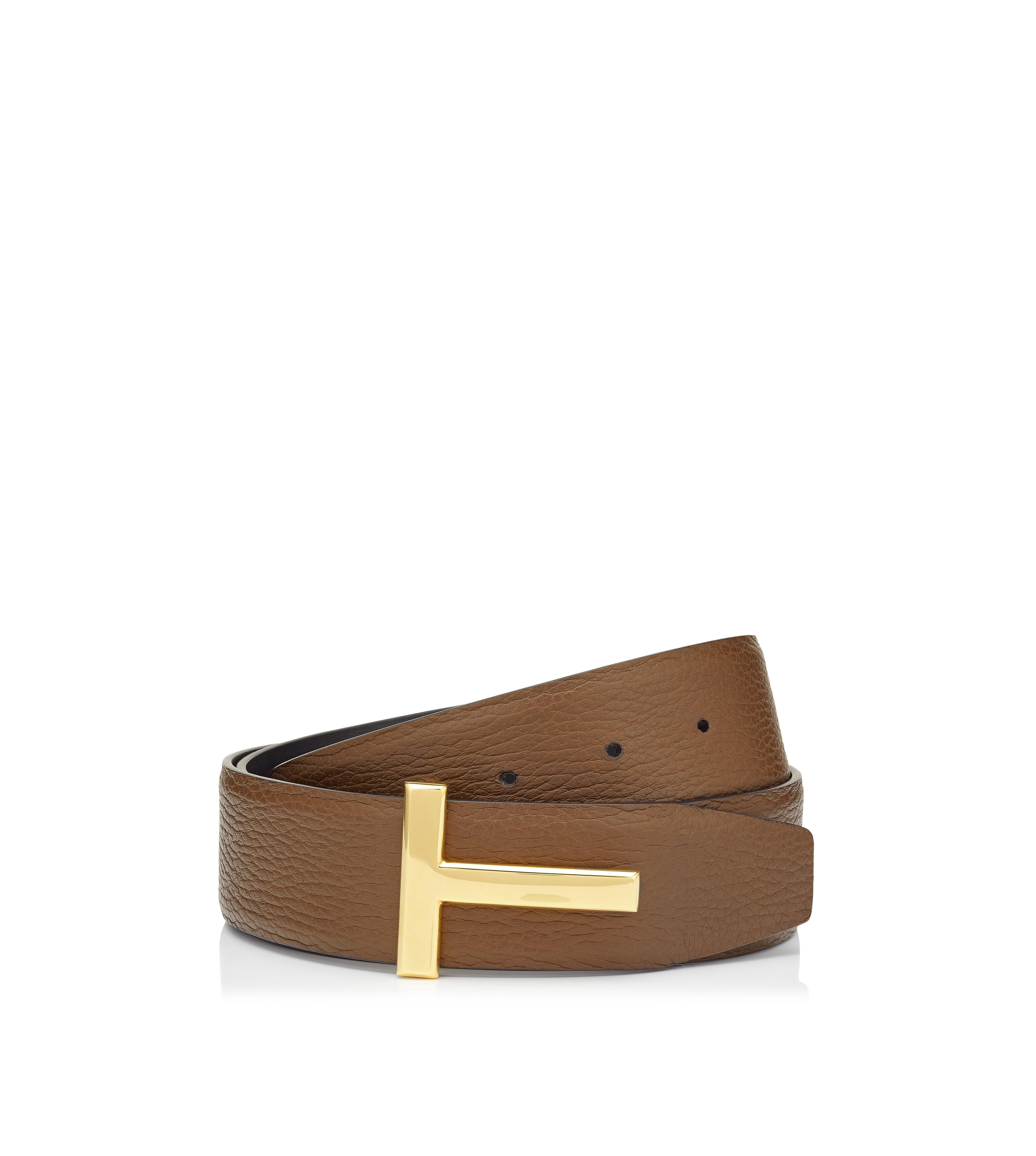 T BUCKLE REVERSIBLE BELT WITH GOLD BUCKLE A thumbnail