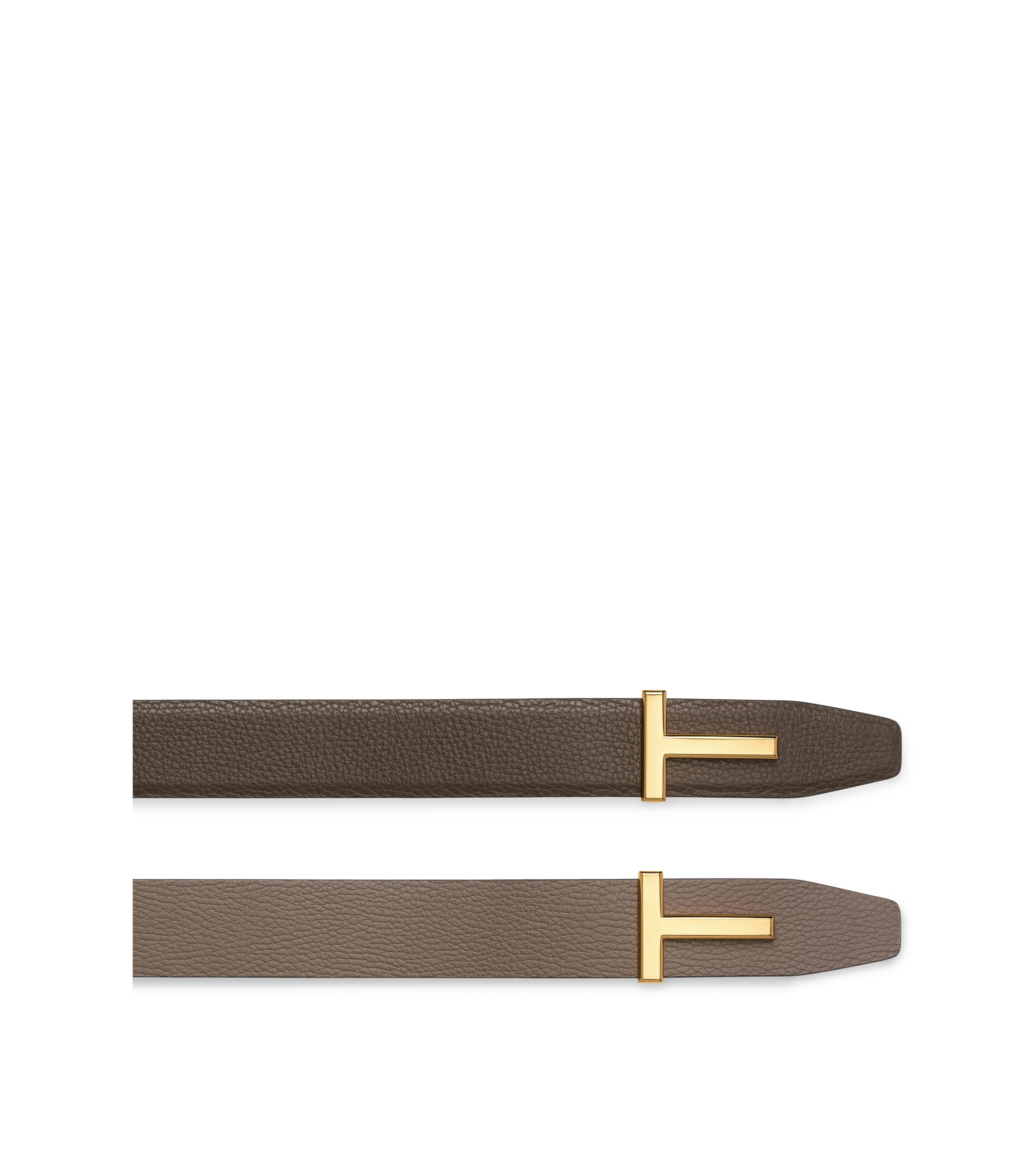 T BUCKLE REVERSIBLE BELT WITH GOLD BUCKLE B thumbnail