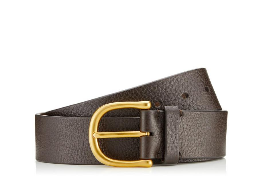GRAINED LEATHER BELT WITH GOLD BUCKLE A fullsize