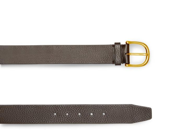 GRAINED LEATHER BELT WITH GOLD BUCKLE B fullsize