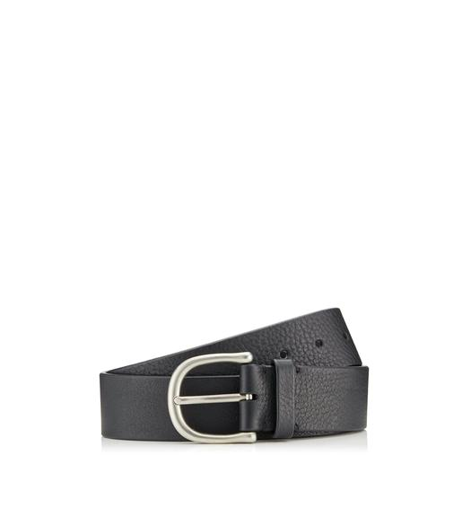 GRAINED LEATHER BELT WITH SILVER BUCKLE
