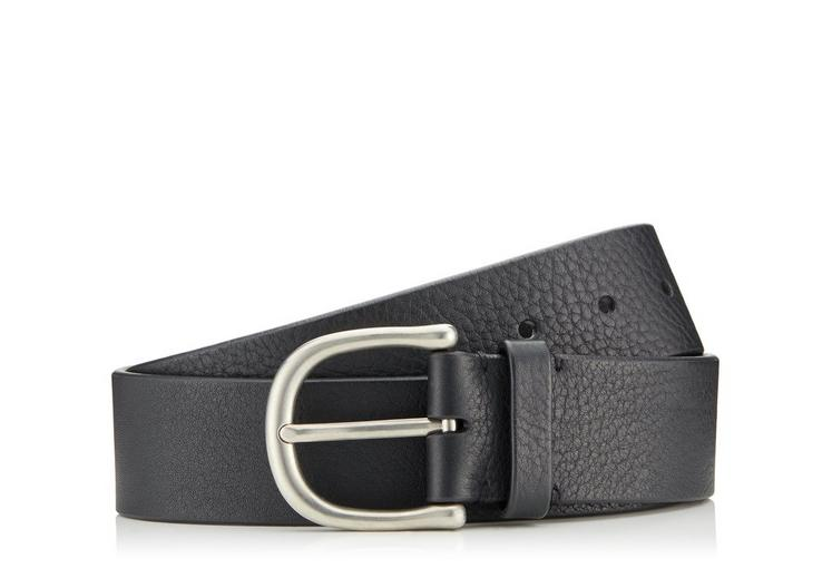 GRAINED LEATHER BELT WITH SILVER BUCKLE A fullsize
