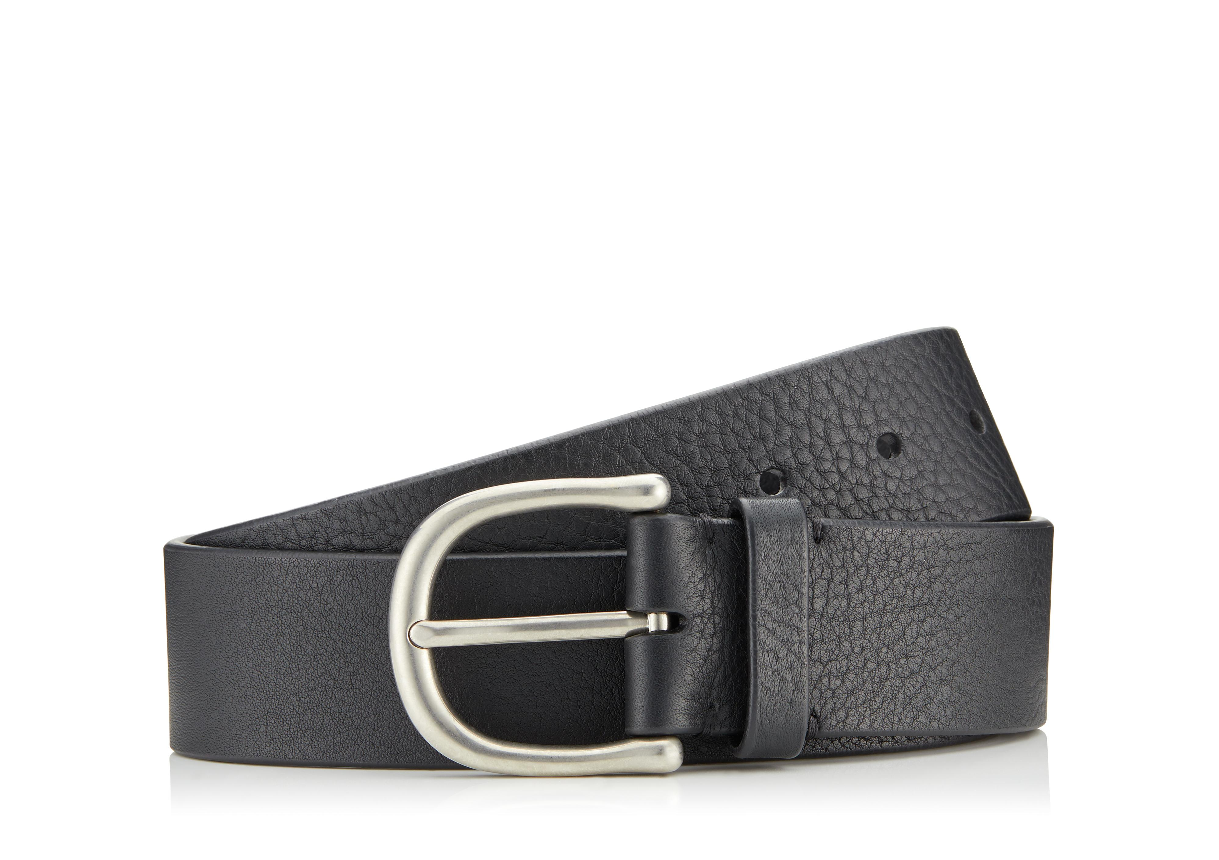 GRAINED LEATHER BELT WITH SILVER BUCKLE A thumbnail