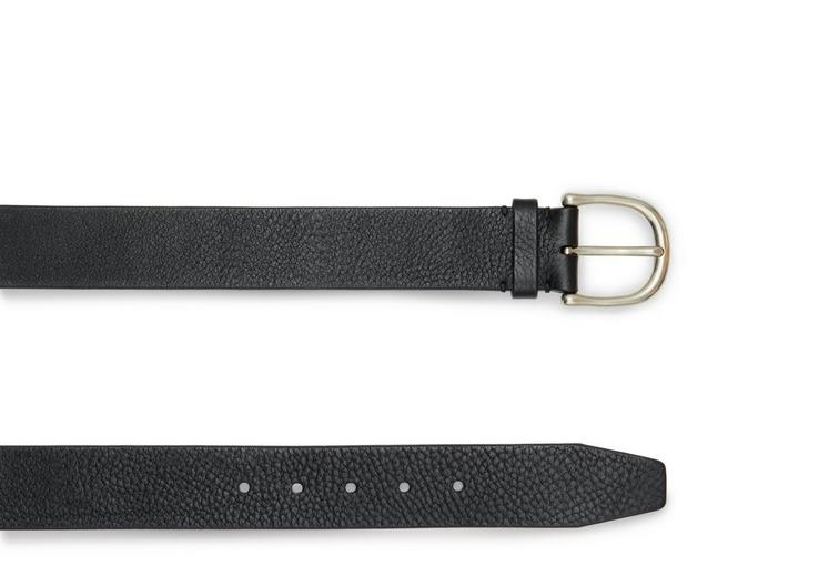 GRAINED LEATHER BELT WITH SILVER BUCKLE B fullsize