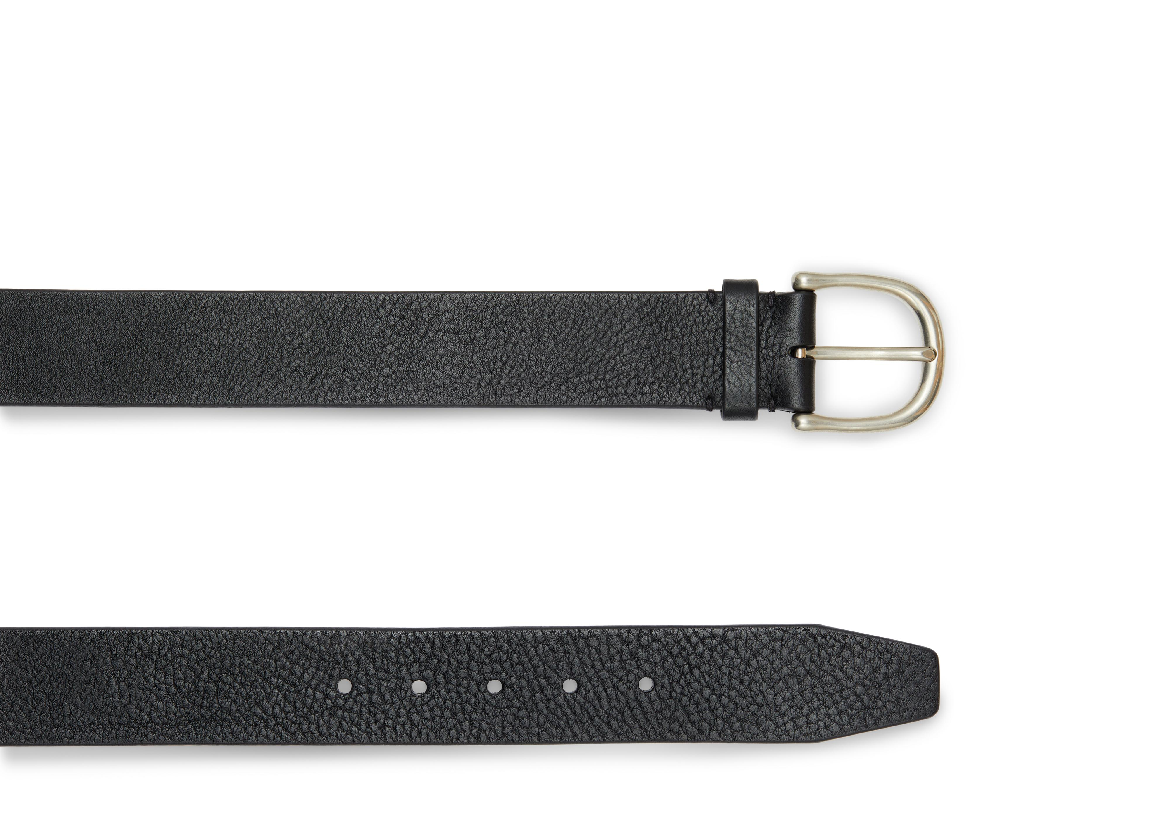 GRAINED LEATHER BELT WITH SILVER BUCKLE B thumbnail