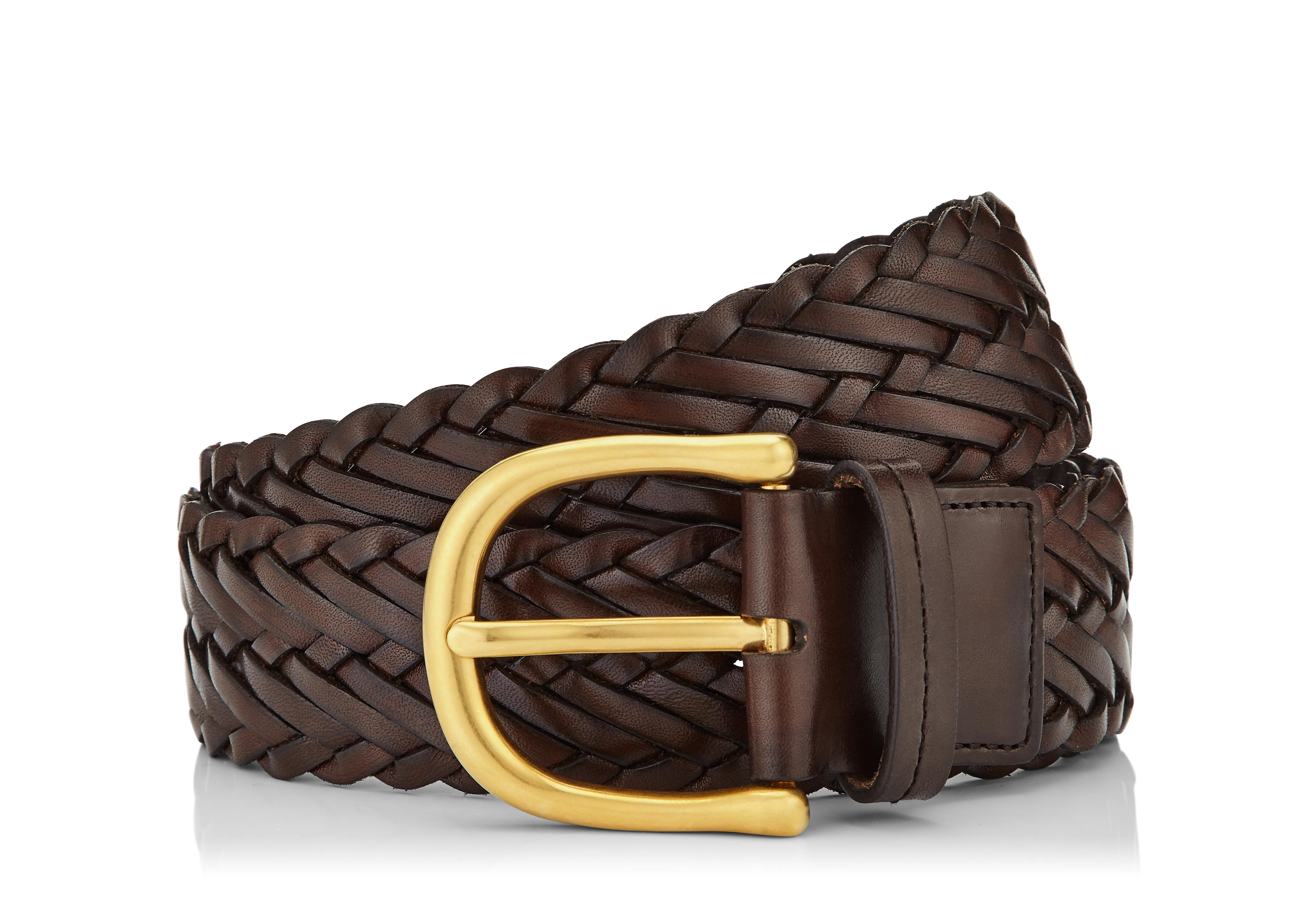 WOVEN LEATHER BELT WITH GOLD BUCKLE A thumbnail