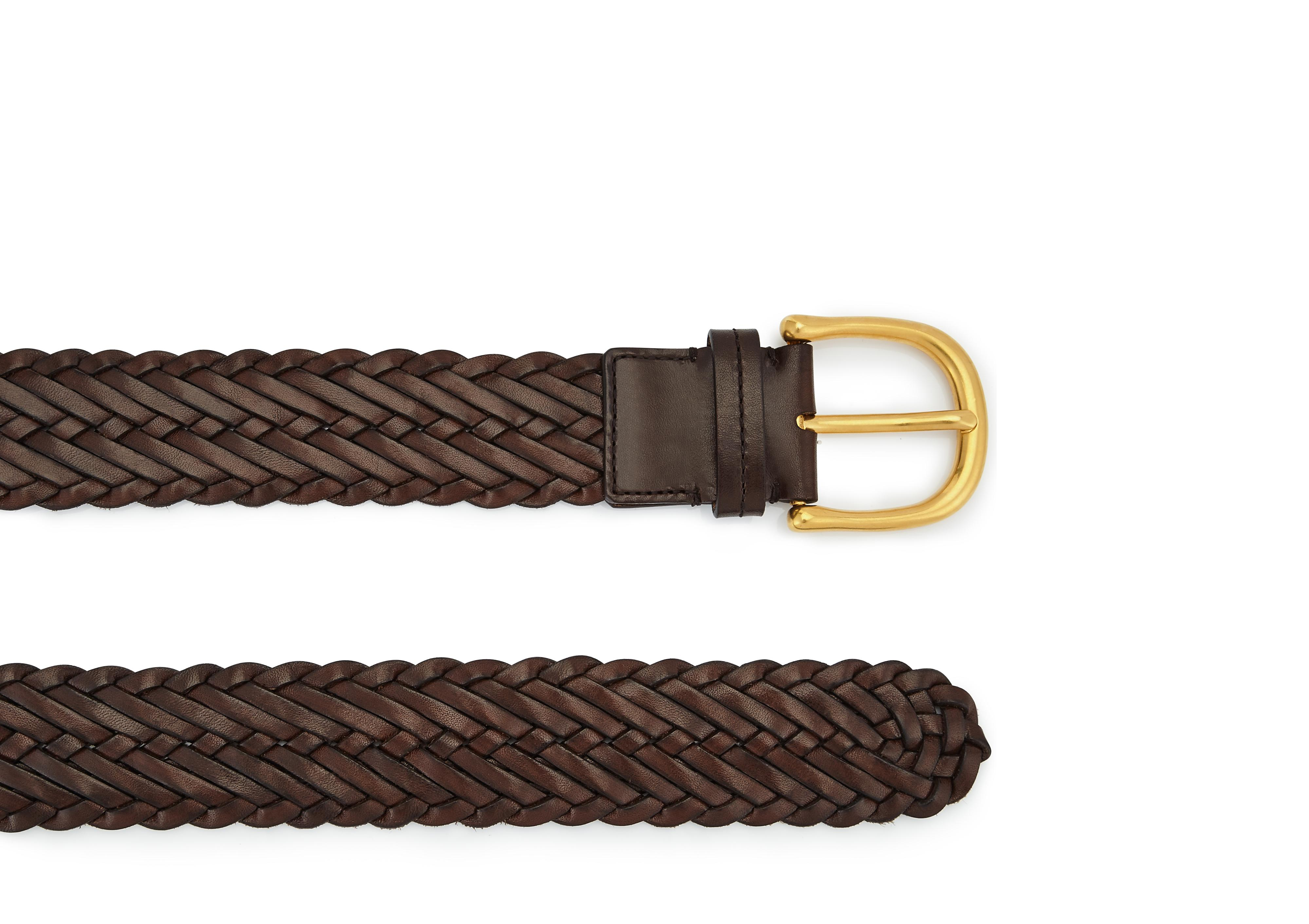 WOVEN LEATHER BELT WITH GOLD BUCKLE B thumbnail