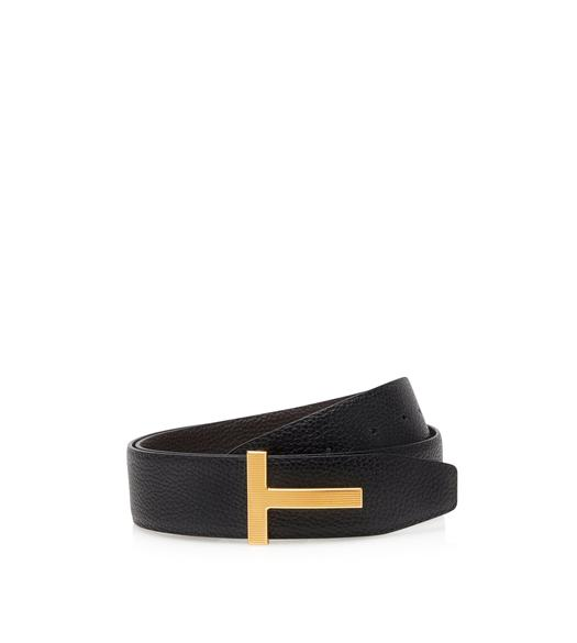 LEATHER GOLD T RIDGE BELT