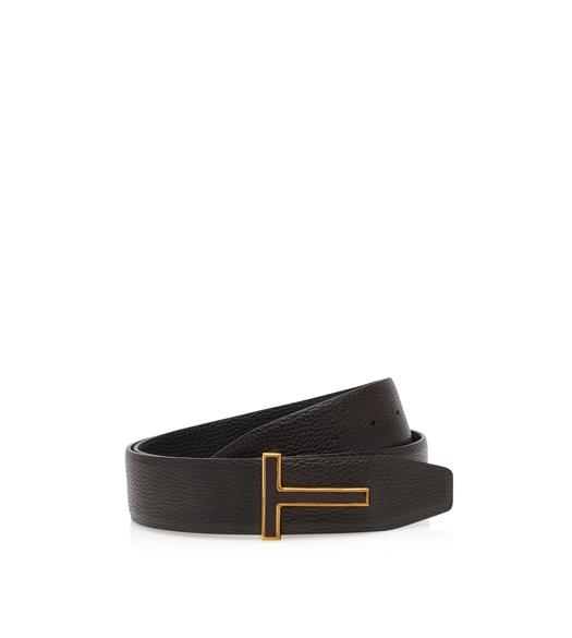 REVERSIBLE GRAIN LEATHER INSERT BUCKLE T ICON BELT