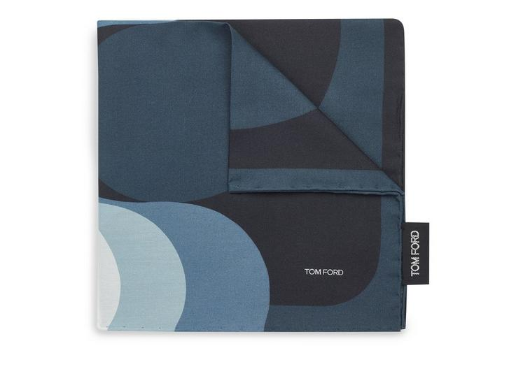 TOM FORD Yin Yang Print Classic Pocket Square in Blue