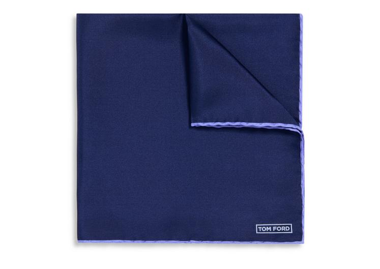 NAVY WITH LILAC EDGE SILK POCKET SQUARE A fullsize