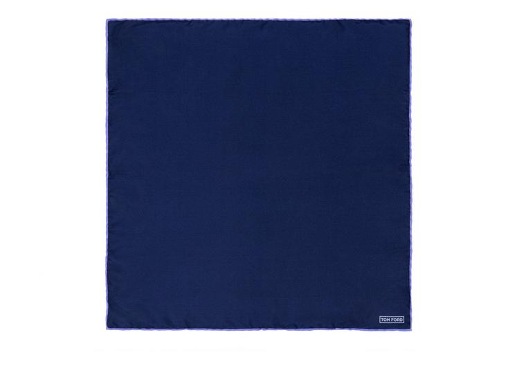 NAVY WITH LILAC EDGE SILK POCKET SQUARE B fullsize
