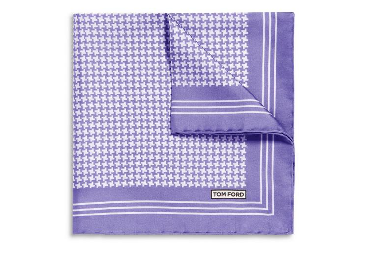 GRAPHIC HOUNDSTOOTH PRINT SILK POCKET SQUARE A fullsize