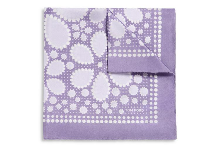 DOTTED FLOWER PRINT SILK POCKET SQUARE A fullsize