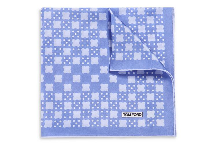 ROUND CROSS WITH DOTS PRINT SILK POCKET SQUARE A fullsize