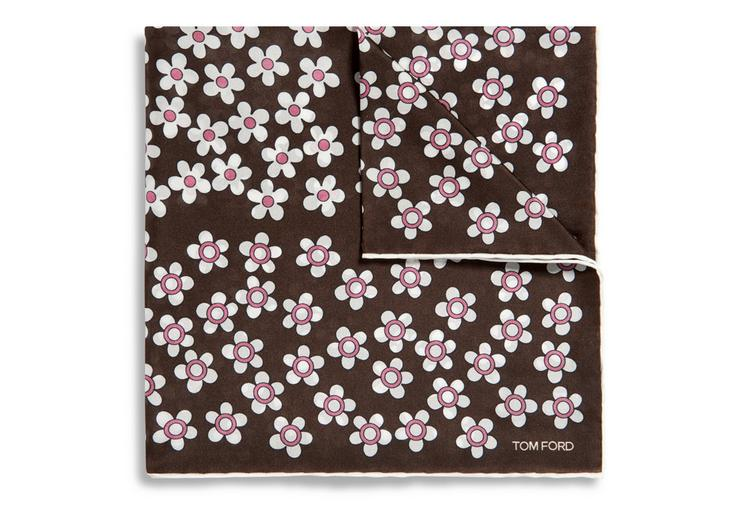 CIRCLE FLOWER PRINT SILK POCKET SQUARE A fullsize