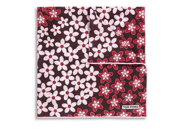 MULTI-FLORAL PRINT  SILK POCKET SQUARE A fullsize