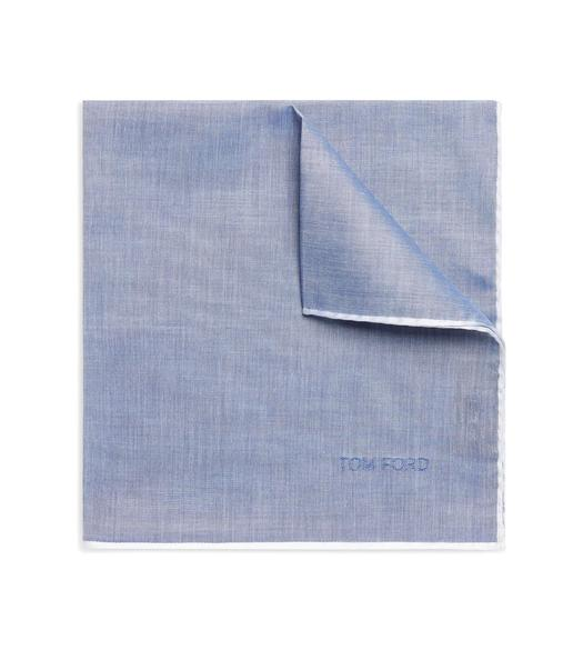 BORDERED COTTON POCKET SQUARE